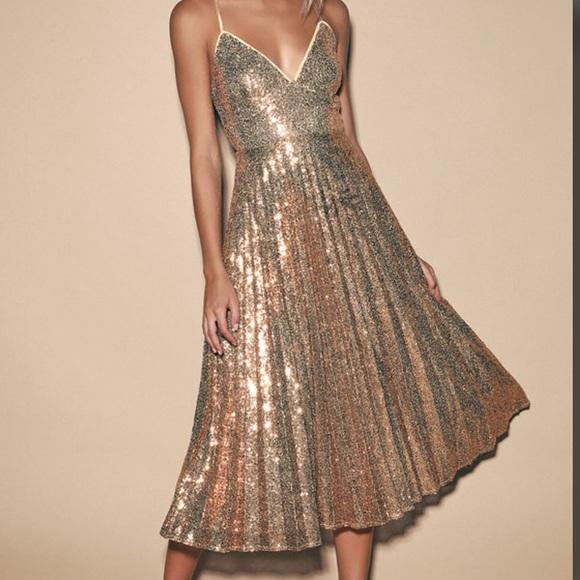 Lulus Rose Gold Sequin Pleated Midi Dress